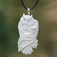 Bone pendant necklace, 'Owl Affection' - Mother and Child Bone Owl Pendant Necklace from Bali