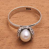 Cultured pearl cocktail ring, 'Clam Shell' - Cultured Pearl Clam Cocktail Ring from Bali