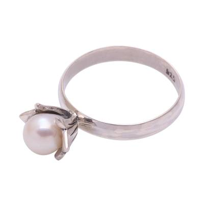 Floral Cultured Pearl Cocktail Ring from Bali