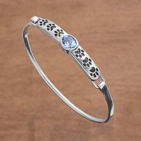 Blue topaz pendant bracelet, 'Cute Paw Prints' - Animal-Themed Blue Topaz Pendant Bracelet from Bali