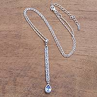 Blue topaz pendant necklace, 'Paw Drop' - Animal-Themed Blue Topaz Pendant Necklace from Bali