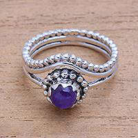Amethyst cocktail ring, 'Enshrined' - Dot Motif Amethyst Cocktail Ring from Bali