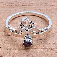 Garnet cocktail ring, 'Vine Royalty' - Vine Motif Garnet Cocktail Ring from Bali