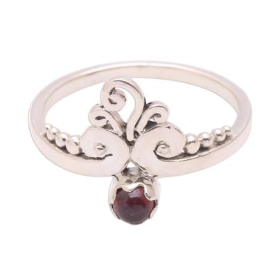 Vine Motif Garnet Band Ring from Bali