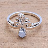 Moonstone cocktail ring, 'Vine Royalty' - Vine Motif Moonstone Cocktail Ring from Bali
