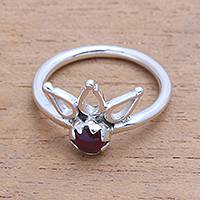 Garnet cocktail ring, 'Lotus Crown' - Crown Motif Garnet Cocktail Ring from Bali