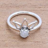 Moonstone cocktail ring, 'Lotus Crown' - Crown Motif Moonstone Cocktail Ring from Bali