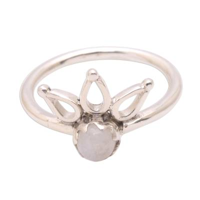 Crown Motif Moonstone Cocktail Ring from Bali