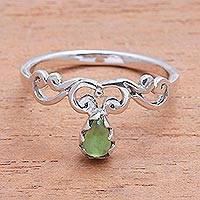 Peridot cocktail ring, 'Lovely Vines' - Spiral Motif Peridot Cocktail Ring from Bali