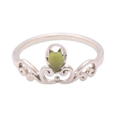 Peridot band ring, 'Lovely Vines' - Spiral Motif Peridot Band Ring from Bali