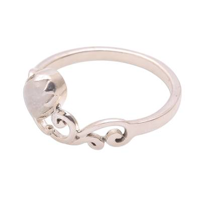 Moonstone band ring, 'Lovely Vines' - Spiral Motif Moonstone Band Ring from Bali