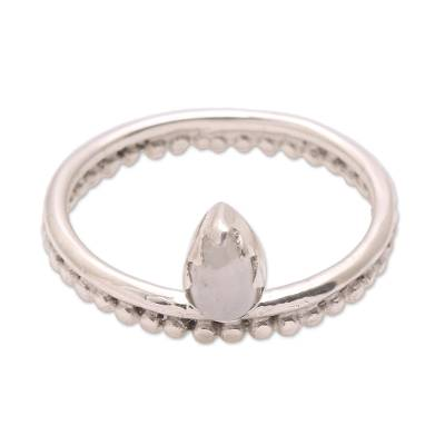 Moonstone band ring, 'Lovely Serenity' - Dot Motif Moonstone Band Ring Crafted in Bali