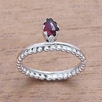 Garnet cocktail ring, 'Lovely Serenity' - Dot Motif Garnet Cocktail Ring Crafted in Bali