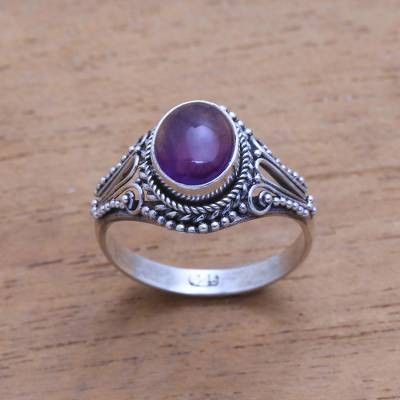 Amethyst single-stone ring, 'Princess Gem' - Handmade Amethyst Single-Stone Ring from Bali