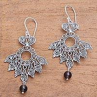 Smoky quartz dangle earrings, 'Serenity Swirls' - Spiral Motif Smoky Quartz Dangle Earrings from Bali