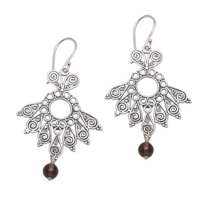 Smoky quartz dangle earrings, 'Serenity Swirls' - Spiral Motif Smoky Quartz Dangle Earrings from Bali