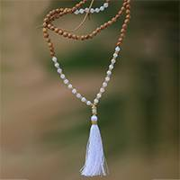 Gold accented moonstone beaded pendant necklace, 'Batuan Harmony'