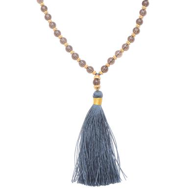 Smoky quartz beaded long necklace, 'Batuan Harmony' - 22k Gold Plated Smoky Quartz Beaded Necklace from Bali