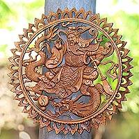 Wood relief panel, 'Dragon's Master' - Chinese Master and Dragon Suar Wood Relief Panel from Bali