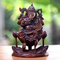 Wood sculpture, 'Ganesha the Magificent' - Hand-Carved Suar Wood Ganesha Sculpture from Bali