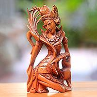 Wood sculpture, 'Dancing Sri' - Hand-Carved Wood Hindu Sculpture of Sri from Bali