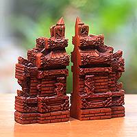 Wood bookends, 'Gapura Gaze' (7.5 inch) - Hand-Carved Cultural Suar Wood Bookends from Bali (7.5 in.)