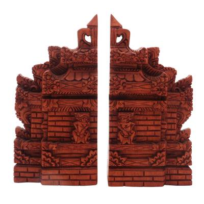Hand-Carved Cultural Suar Wood Bookends from Bali (7.5 in.)