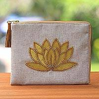 Leather accent glass beaded jute coin purse, 'God's Grace in Bone' - Floral Embellished Jute Coin Purse in Bone from Java