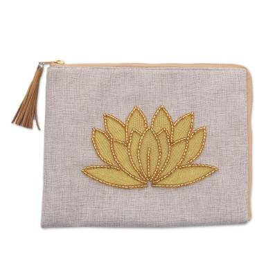 Floral Embellished Jute Coin Purse in Bone from Java