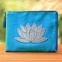Leather accent glass beaded jute coin purse, 'God's Grace in Sky Blue' - Floral Embellished Jute Coin Purse in Sky Blue from Java
