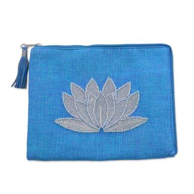 Leather accent glass beaded jute coin purse,