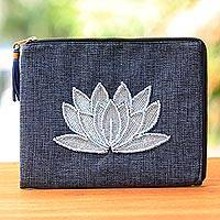 Leather accented glass beaded jute coin purse, 'God's Grace in Midnight' - Floral Embellished Jute Coin Purse in Midnight from Java