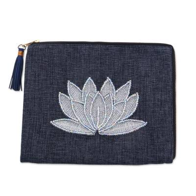 Floral Embellished Jute Coin Purse in Midnight from Java