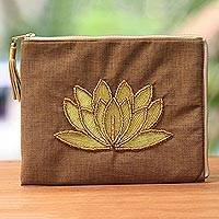 Leather accent glass beaded jute coin purse, 'God's Grace in Tan' - Floral Embellished Jute Coin Purse in Tan from Java