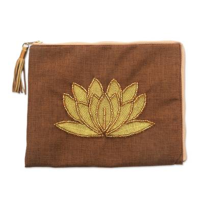 Floral Embellished Jute Coin Purse in Tan from Java