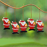 Wood ornaments, 'Waving Santa' (set of 5) - Hand-Painted Wood Santa Ornaments from Bali (Set of 5)