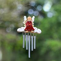 Wood wind chimes, 'Angel Tune in Red' - Angel-Themed Wood Wind Chimes in Red from Bali
