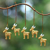 Wood ornaments, 'Reindeer Voyage in Gold' (set of 5) - Gold-Tone Wood Reindeer Ornaments from Bali (Set of 5)