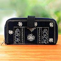 Embroidered cotton clutch, 'Sabang Flower in Navy' - Navy Blue Handwoven Embroidered Cotton Floral Clutch