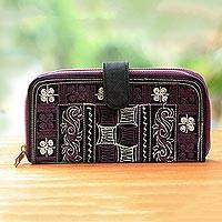 Embroidered cotton clutch, 'Sabang Flower in Purple' - Cotton and Faux Leather Handwoven Clutch Floral Clutch