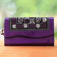 Cotton accent clutch, 'Hulumasen in Purple' - Handwoven Purple and White Floral Clutch or Wristlet