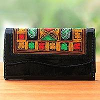 Cotton accent clutch, 'Hulumasen in Black' - Handwoven Black and Orange Floral Clutch with Strap