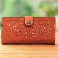 Leather wallet, 'Barong Keraton' - Handcrafted Spice Brown Leather Embossed Snap-Closure Wallet