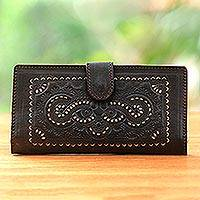 Leather wallet, 'Embossed Beauty' - Embossed Handcrafted Brown Leather Wallet with Cutwork