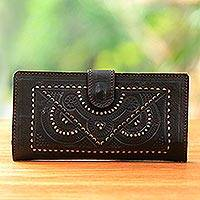 Leather wallet, 'Royal Window' - Handcrafted Embossed Brown Leather Wallet with Cutwork