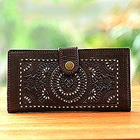Leather wallet, 'Sun and Wind' - Brown Leather Wallet Handcrafted Embossed with Cutwork