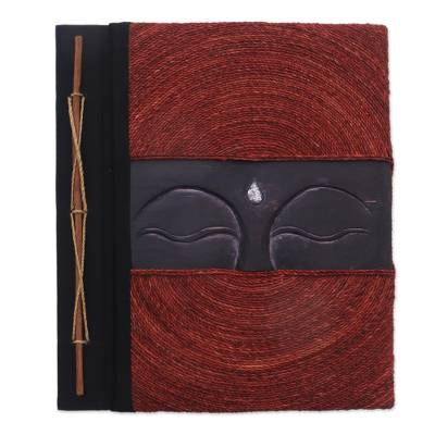Buddha-Themed Wood and Natural Fiber Photo Album in Red