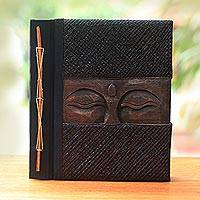 Wood and natural fiber photo album, 'Sight of Buddha in Brown' - Buddha-Themed Wood and Natural Fiber Photo Album in Brown