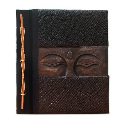 Buddha-Themed Wood and Natural Fiber Photo Album in Brown