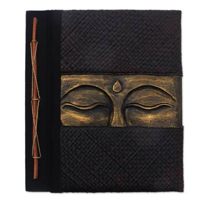 Buddha-Themed Wood and Natural Fiber Photo Album in Gold